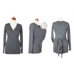 Angel Wings Zavinovací svetr angora - šedohnědý