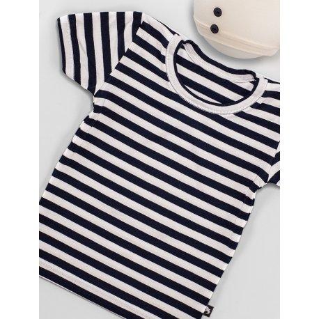 DuoMamas childern T-shirt - short sleeved - navy white stripes