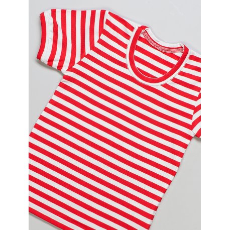 DuoMamas childern T-shirt - short sleeved - red white stripes