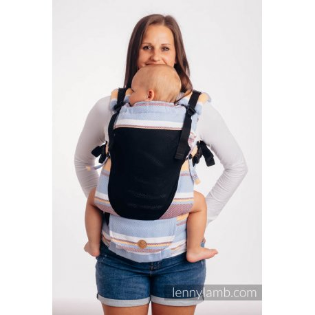 LennyLamb LennyUpGrade Mesh adjustable ergonomic carrier - Little Herringbone Orange Blossom
