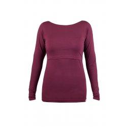 Angel Wings T-shirt for breastfeeding Long sleeved Bordeaux