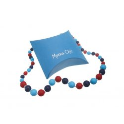 Silicone beads Mama Chic - navy-blue-red