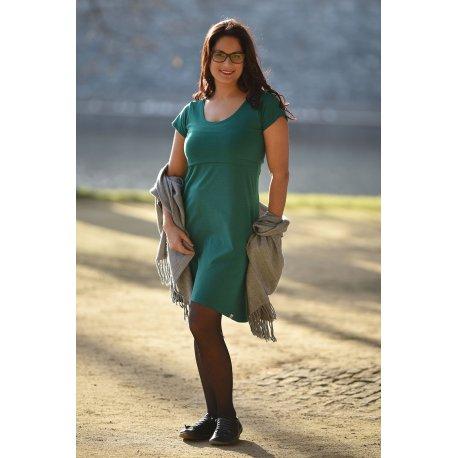 Angel Wings Dress A - short sleeves - emerald green