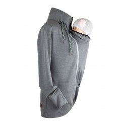Angel Wings Babywearing Hoodie without zipper on back - grey