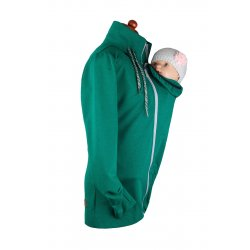 Angel Wings Babywearing Hoodie without zipper on back - emerald