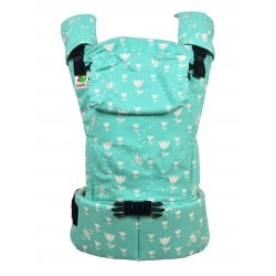 MoniLu ergonomic babycarrier UNI START Tulips Mint