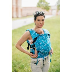 Lenka ergonomical babycarrier - Be Lenka Mini - Leaves - Azure