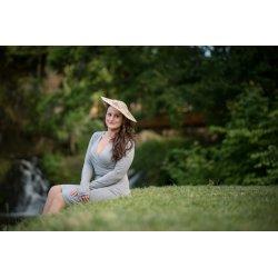 Jozanek Breastfeeding Dress - long sleeves - Amalia - Grey Melange