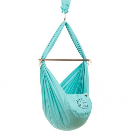 NONOMO® SWINGING HAMMOCK-SET BABY CLASSIC WITH POLYESTER MATTRESS AND CEILING FIXTURE- mint