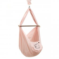 NONOMO® SWINGING HAMMOCK-SET BABY CLASSIC WITH POLYESTER MATTRESS AND CEILING FIXTURE- rosé