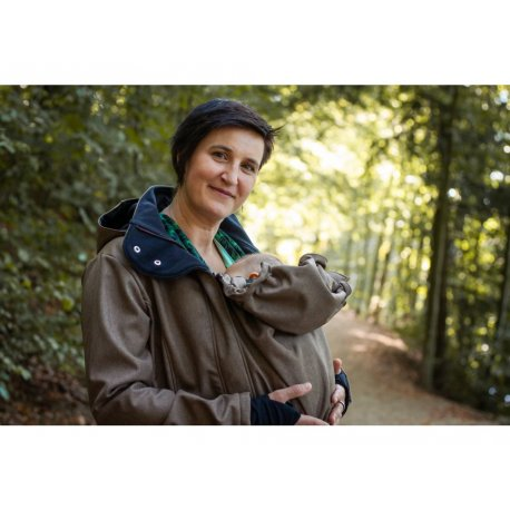 Loktu She babywearing coat - brown melange 2020/21
