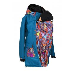 Shara babywearing coat - spring/autumn - Petrol and crazy triangles