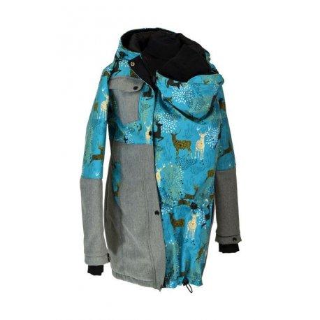 Shara babywearing coat - winter - grey melange with deer
