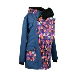 Shara babywearing coat - spring/autumn - blue melange/mandala triangles