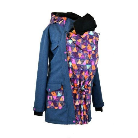 Shara babywearing coat - spring/autumn - blue melange/mandala triangles