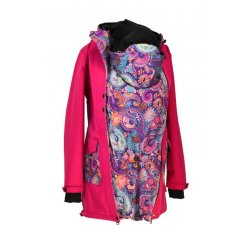Shara babywearing coat - spring/autumn - raspberry/ornaments