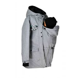 Shara babywearing coat - spring/autumn - grey with graffitti detail