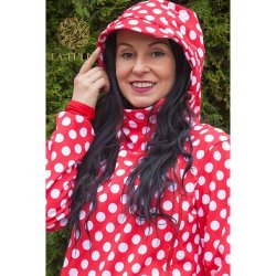 La Tulia babywearing jacket - Red dots and navy blue