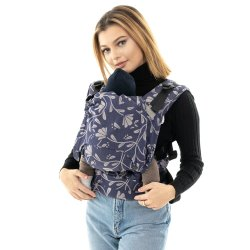 Fidella Fusion babycarrier with buckles - Floral Touch - eclipse blue
