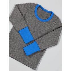 DuoMamas childern T-shirt - long sleeved - merino - grey