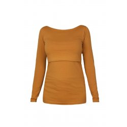 Angel Wings T-shirt for breastfeeding - long sleeved - mustard