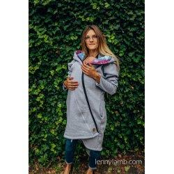 LennyLamb Asymmetrical Babywearing Sweatshirt Grey with Dragonfly Rainbow