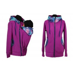 Shara babywearing hoodie - spring/autumn - Petrol and crazy triangles