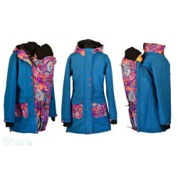 Shara babywearing coat - spring/autumn - raspberry/ornaments