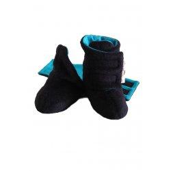 Angel Wings Fluffy Shoes - black-blue