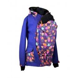 Shara babywearing jacket - spring/autumn - front babywearing - Petrol and crazy triangles